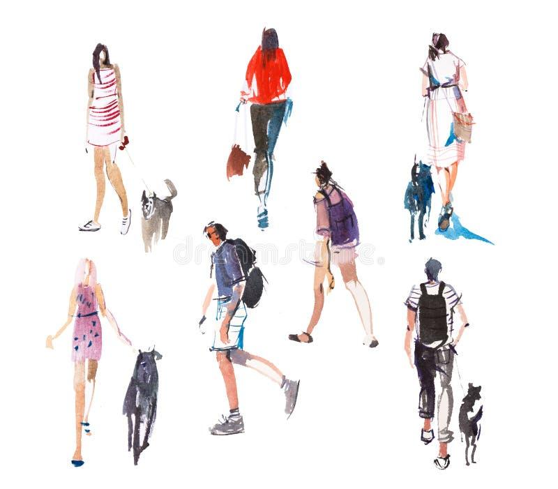 Diversos tipos de dibujo de bosquejo rápido del ejemplo de la acuarela de la gente que camina ilustración del vector