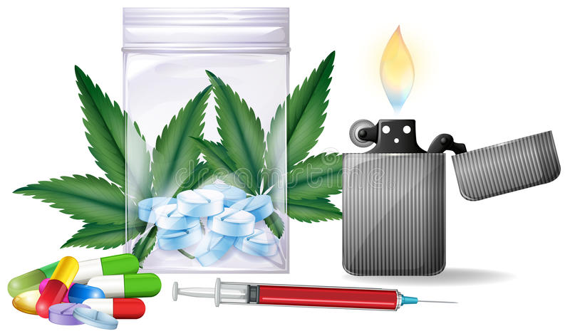 Diversos tipos de drogas libre illustration
