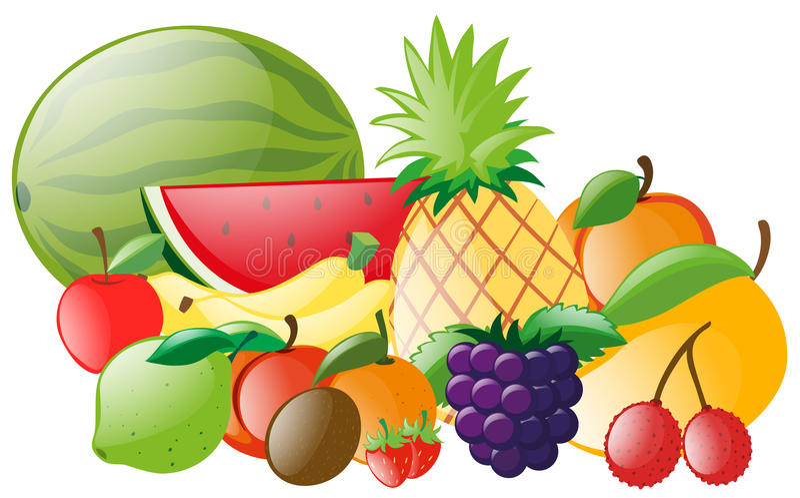 Diversos tipos de frutas tropicales libre illustration