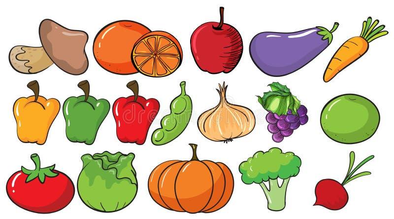 Diversos tipos de frutas y verduras stock de ilustración