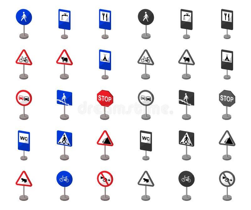 Diversos tipos de historieta de las señales de tráfico, mono iconos en la colección determinada para el diseño Vector de las mues stock de ilustración