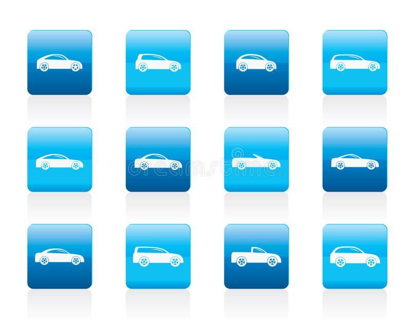 Diversos tipos de iconos de los coches stock de ilustración