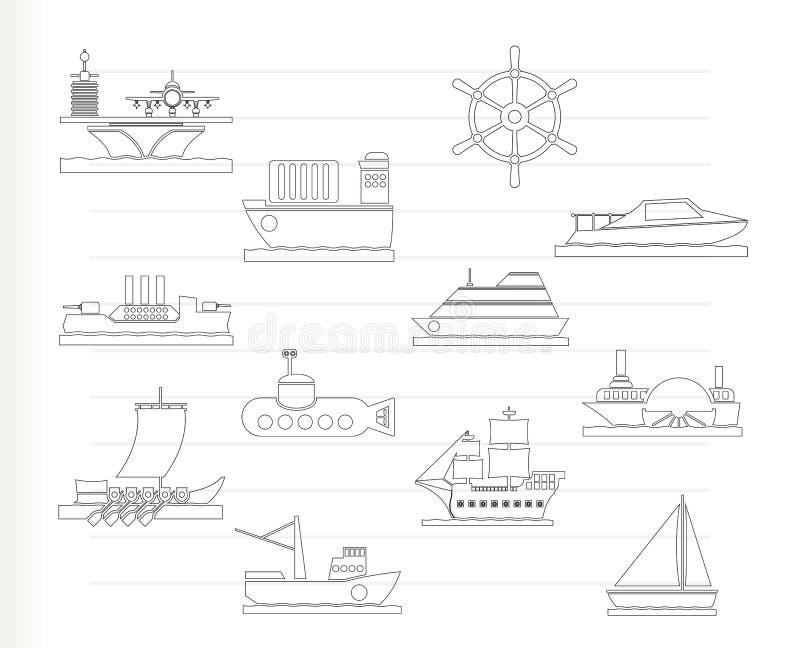 Diversos tipos de iconos del barco y de la nave ilustración del vector