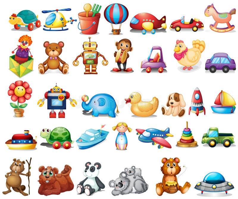 Diversos tipos de juguetes ilustración del vector