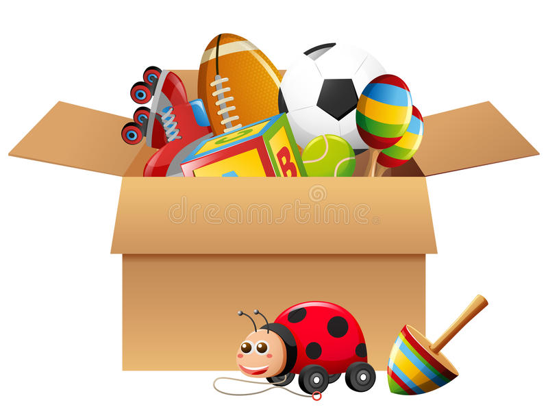 Diversos tipos de juguetes en caja ilustración del vector