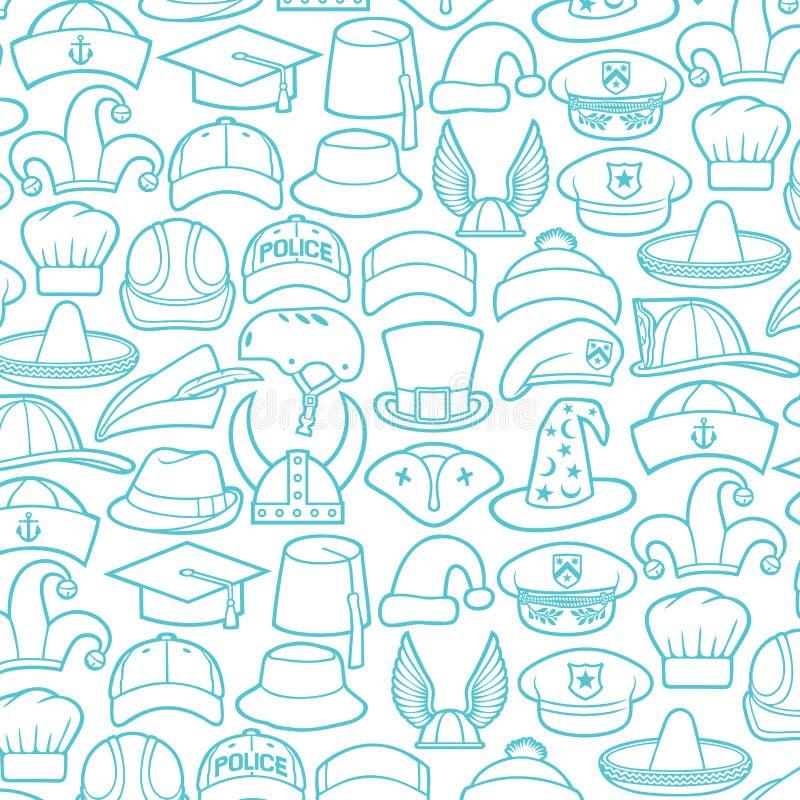 Diversos tipos de línea fina sistema de los sombreros de los iconos libre illustration