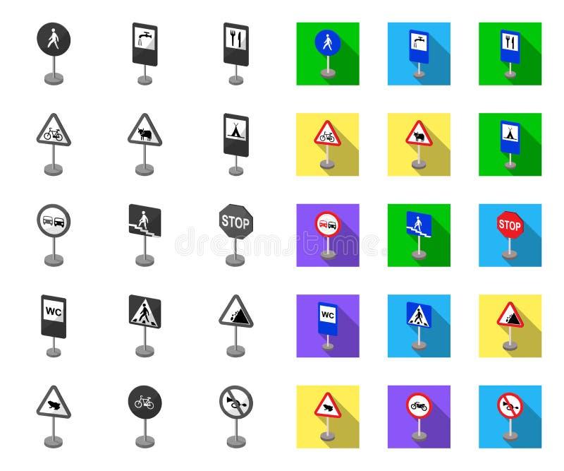 Diversos tipos de las señales de tráfico mono, iconos planos en la colección determinada para el diseño S?mbolo del vector de las libre illustration