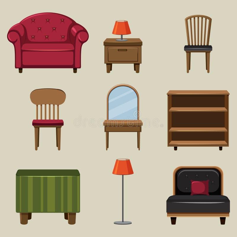 Diversos tipos de muebles stock de ilustración