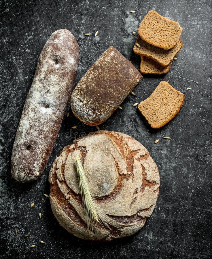 Diversos tipos de pan de centeno imágenes de archivo libres de regalías
