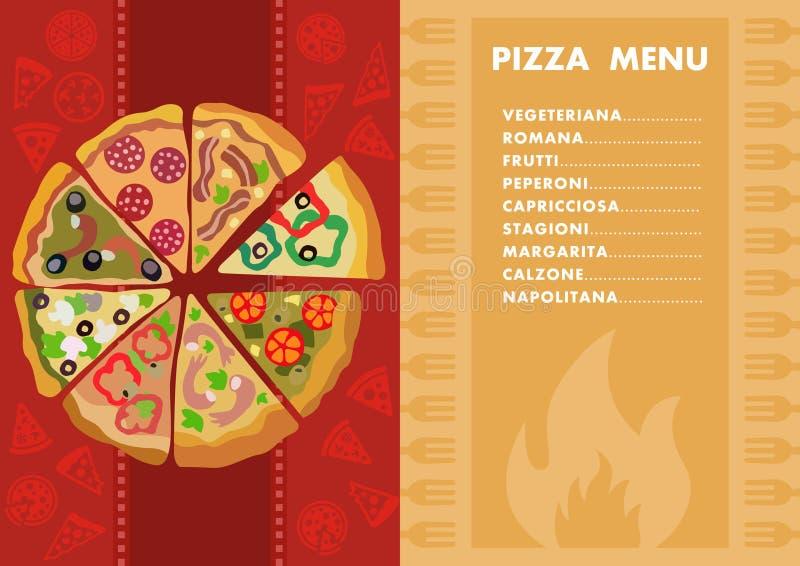 Diversos tipos de pizza menú Concepto de la pizzería libre illustration