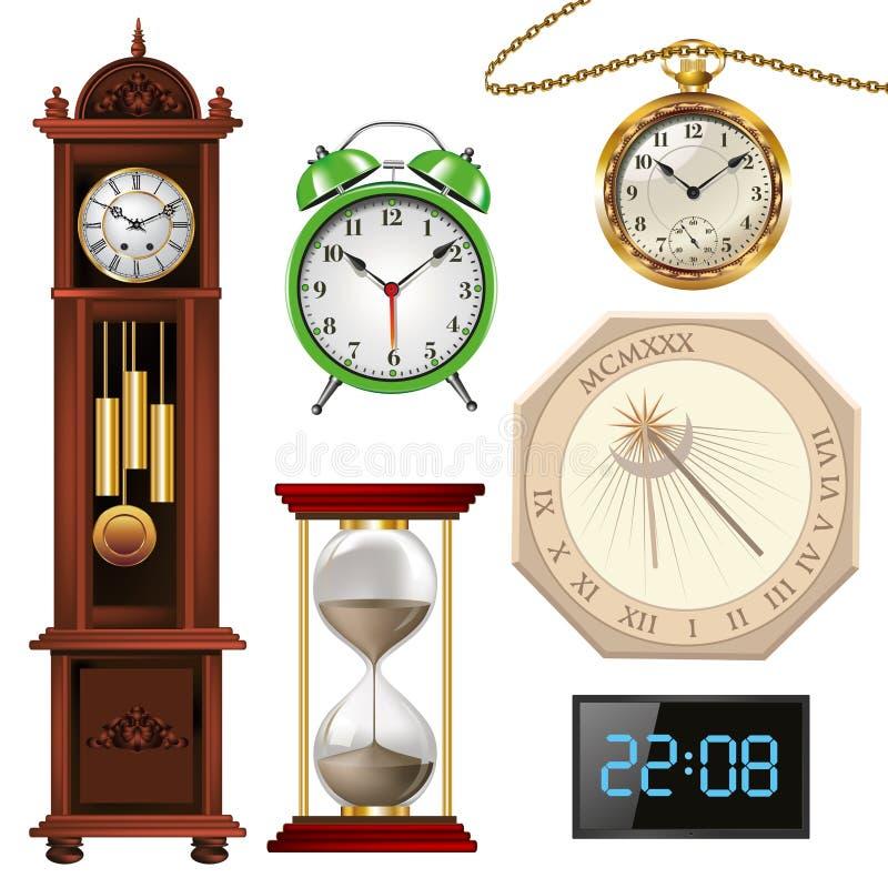 Diversos tipos de relojes stock de ilustración