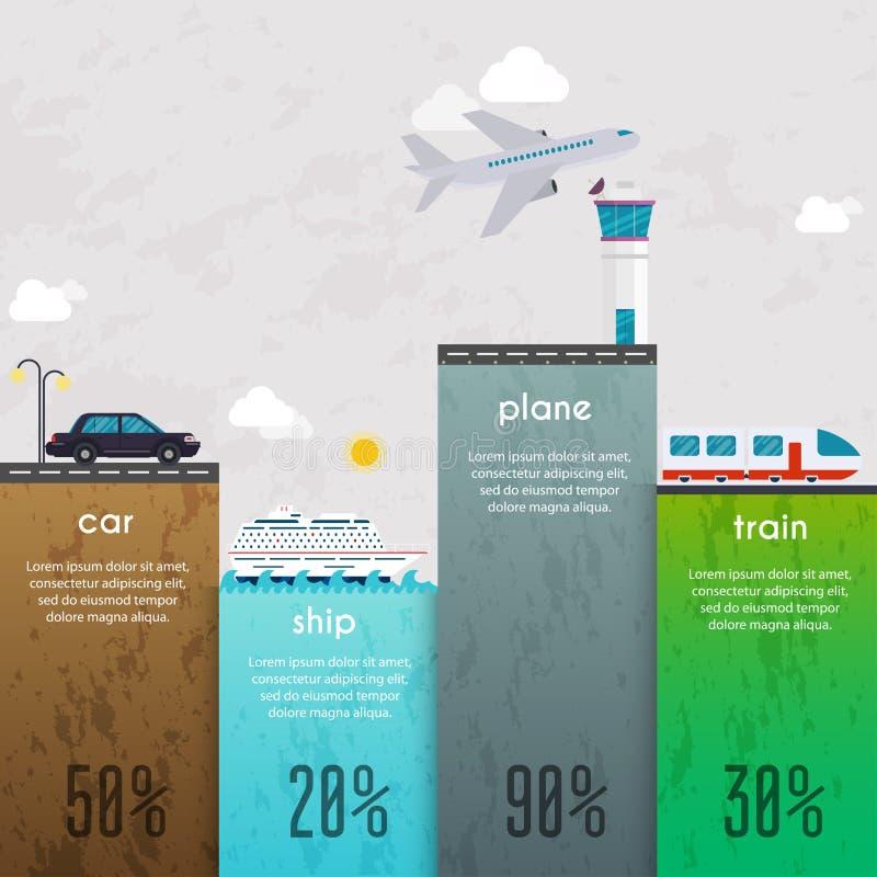 Diversos tipos de transporte Negocio Infographic Vector stock de ilustración