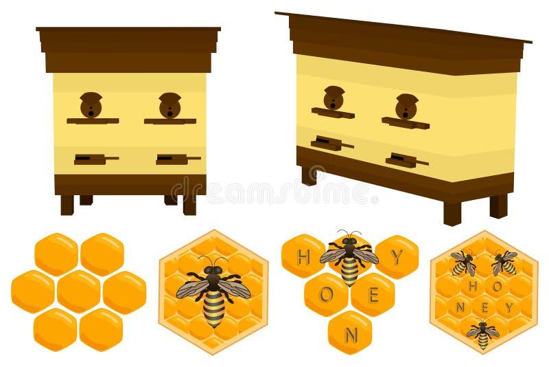 Diversos tipos determinados diverso tamaño de la miel para las abejas en el panal stock de ilustración