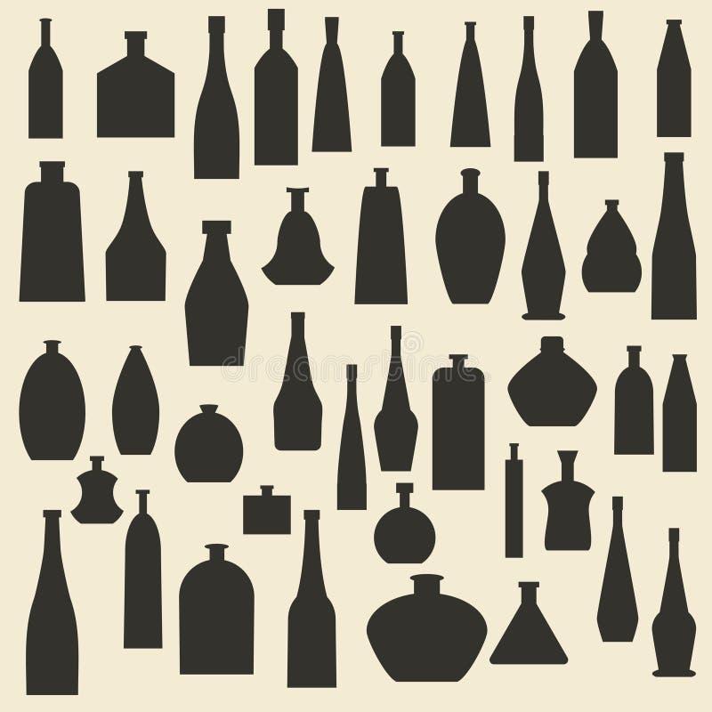 Diversos tipos iconos de la botella de la silueta fijados ilustración del vector