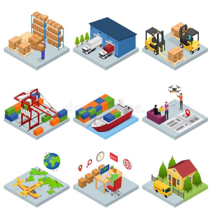 Diversos tipos iconos de Warehouse 3d fijaron la visión isométrica Vector libre illustration