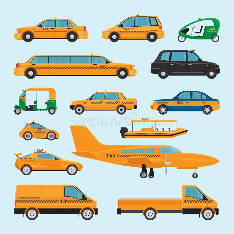 Diversos tipos iconos del taxi ilustración del vector