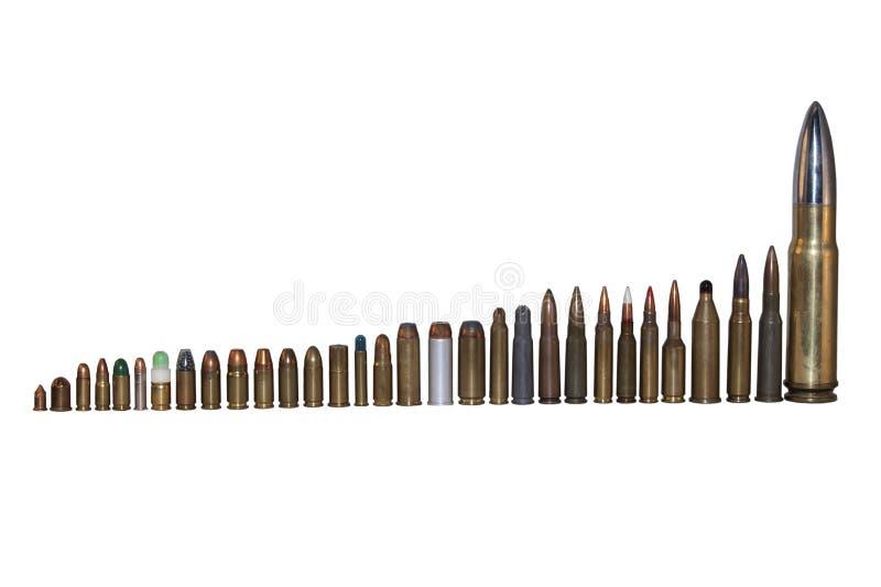 Diversos tipos y calibres de la munición, clasificados por tamaño imagenes de archivo