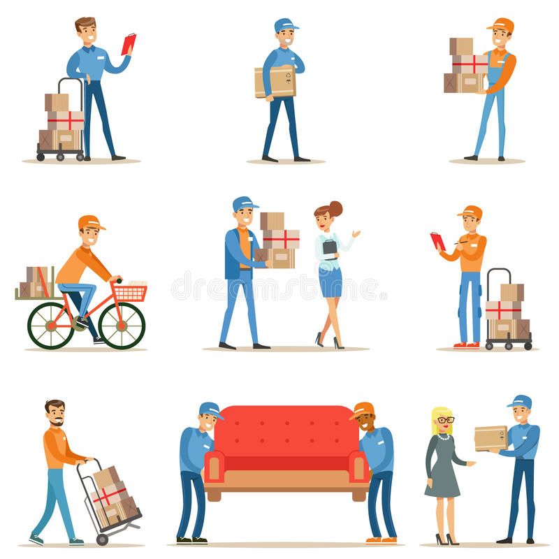 Diversos trabajadores y clientes del servicio de entrega, mensajeros sonrientes entregando los paquetes y los motores que traen e ilustración del vector