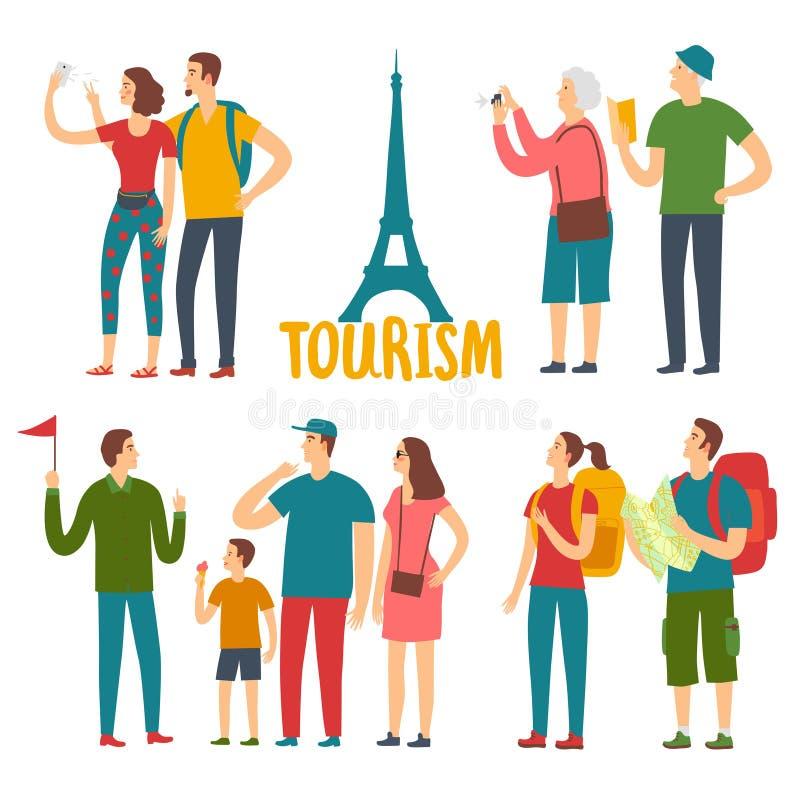 Diversos turistas de la edad de la historieta fijados libre illustration