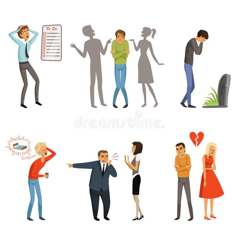 Diversos varón y hembra de la gente en escenas del pánico ilustración del vector