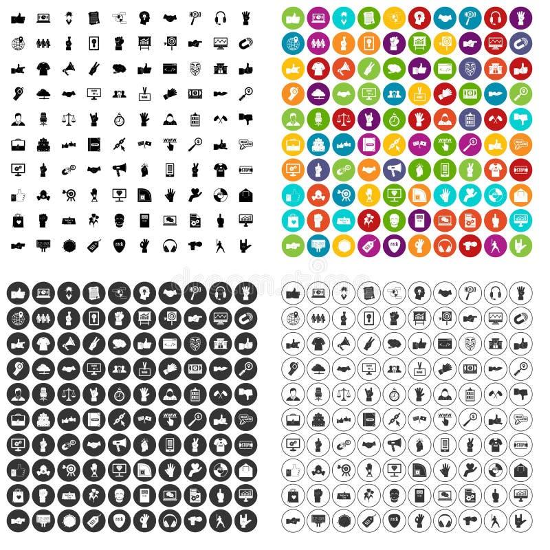100 diversos vector fijado de los gestos iconos variable ilustración del vector