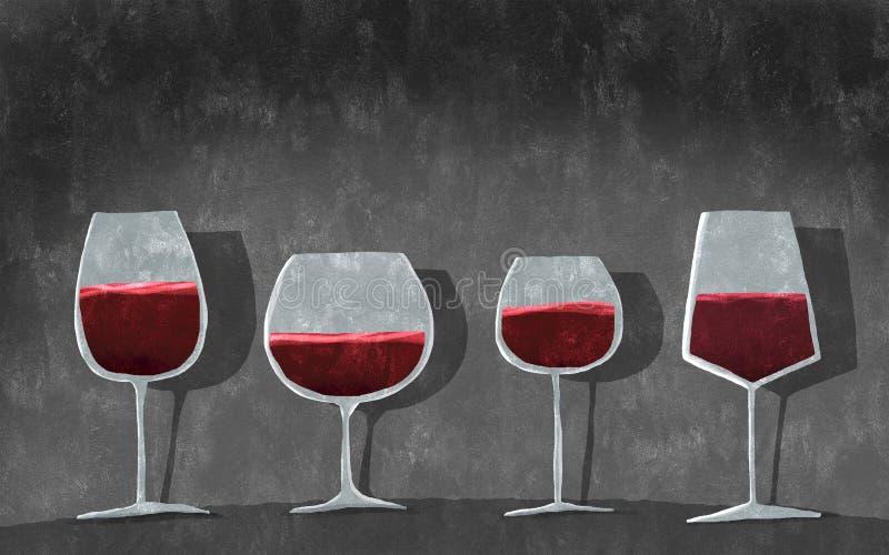 Diversos vidrios con el vino foto de archivo