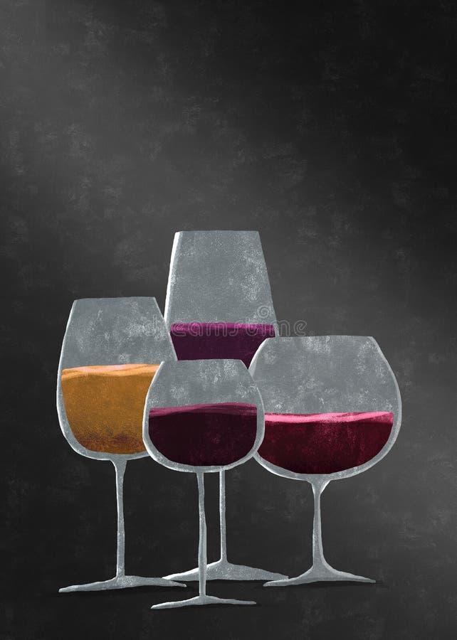 Diversos vidrios con el vino fotografía de archivo libre de regalías