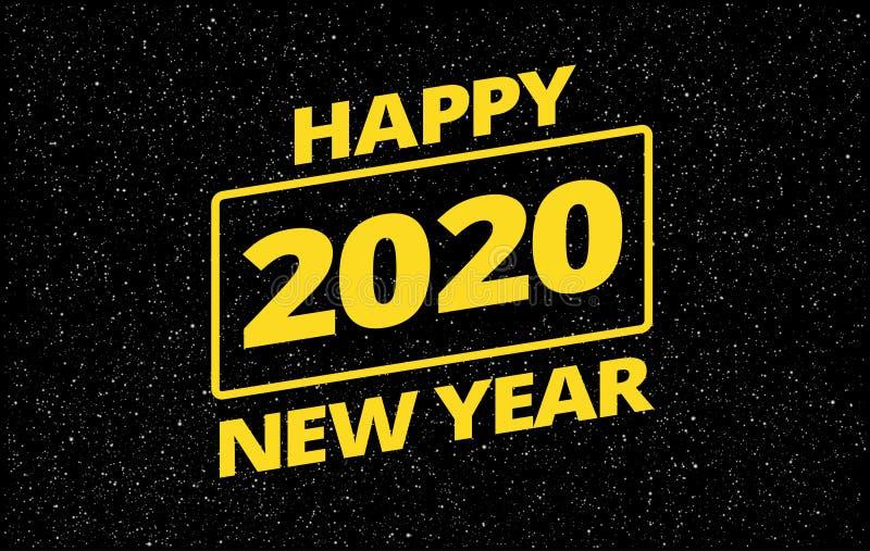 Divertente cartolina di auguri per il nuovo anno 2020 - tema dello spazio retroristar - vettore di sfondo della tipografia gialla illustrazione di stock
