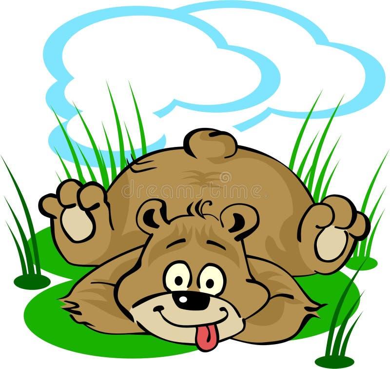 Divertente piccolo orso che pone sul prato inglese royalty illustrazione gratis