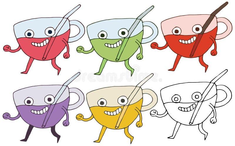 Divertido feliz del drenaje de la mano del sistema de color del monstruo de la taza del garabato de la historieta de la impresión stock de ilustración