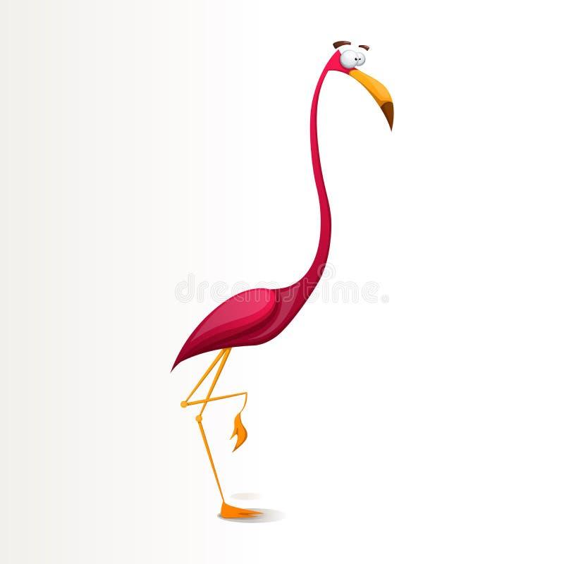 Divertido, loco, ejemplo de los caracteres del flamenco de la historieta ilustración del vector