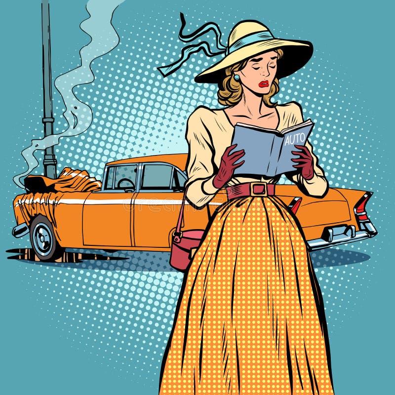 Divertido retro del coche del desplome de la mujer stock de ilustración