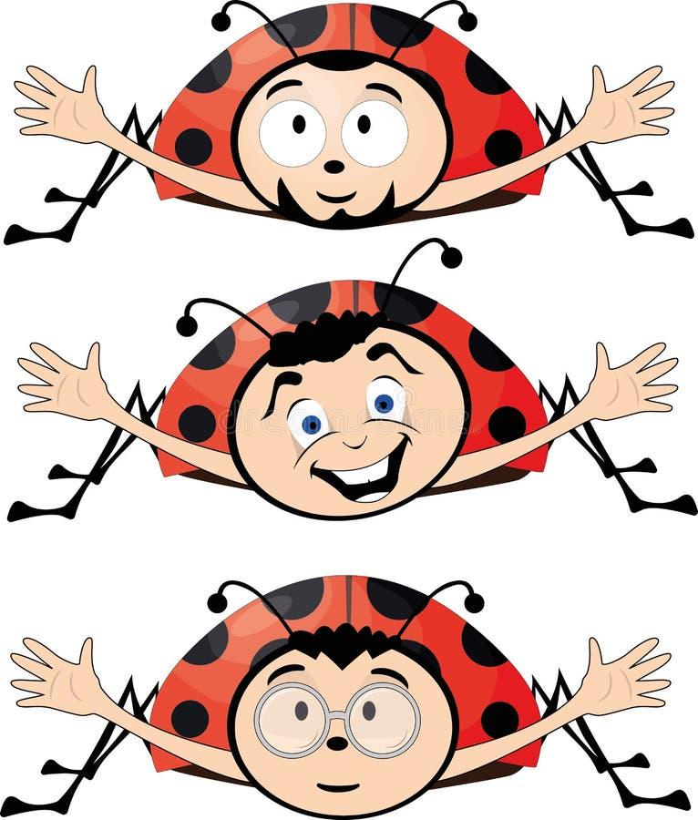 Divertidos bugs ladybugs, amistosos dádivas libre illustration