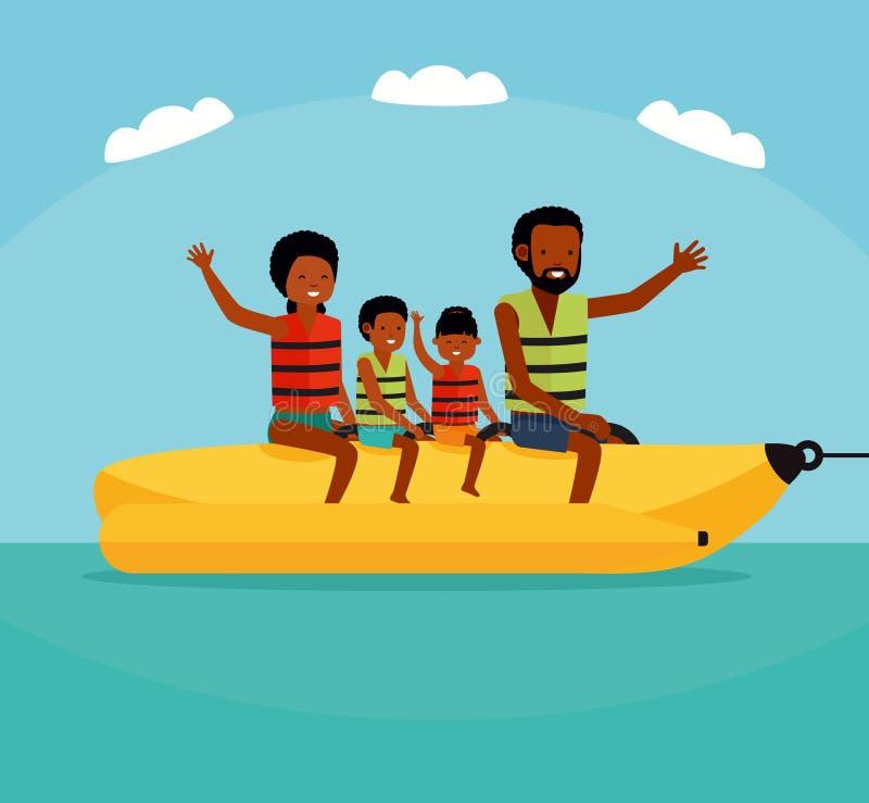Divertimento da água do verão Família que monta um barco de banana da água Conceito ativo do curso Ilustração lisa do estilo dos  ilustração stock