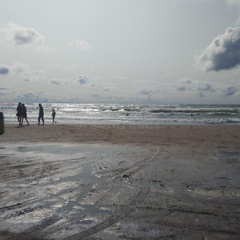Divertimento da família na praia fotografia de stock