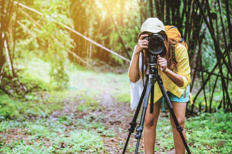 Divertimento da mulher do fotógrafo feliz com natureza de passeio do curso O curso relaxam e o estudo de natureza Na floresta de  imagens de stock royalty free