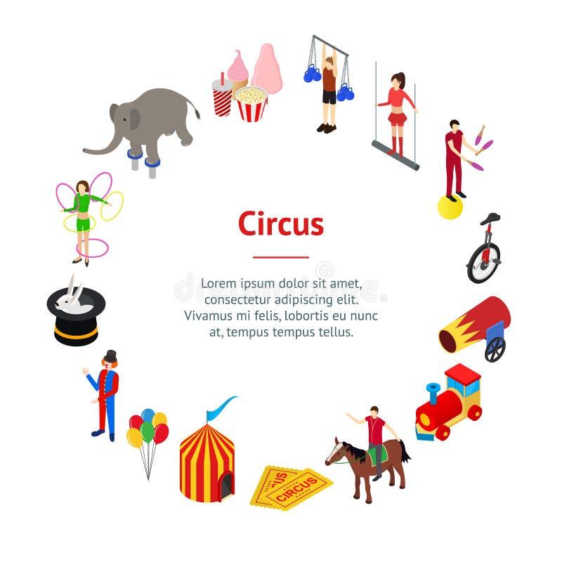 Divertimento del circo e vista isometrica del cerchio della carta dell'insegna dell'attrazione Vettore royalty illustrazione gratis