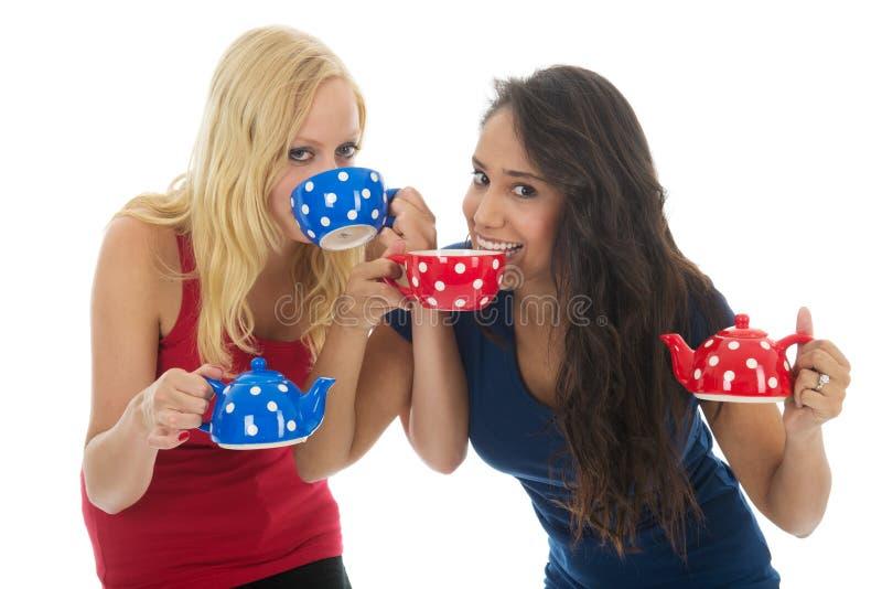 Divertimento delle amiche mentre bevendo tè immagine stock libera da diritti