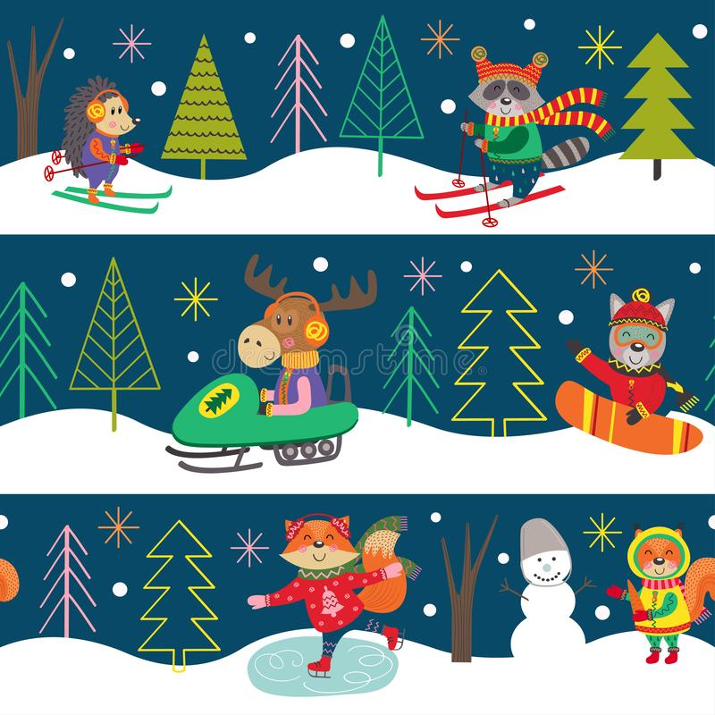 Divertimento di inverno del modello di Seamles con gli animali illustrazione di stock