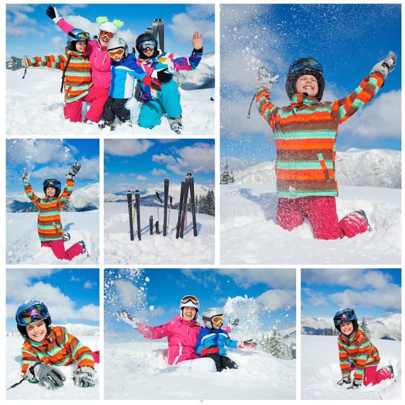 Divertimento di inverno di corsa con gli sci. Famiglia felice immagini stock