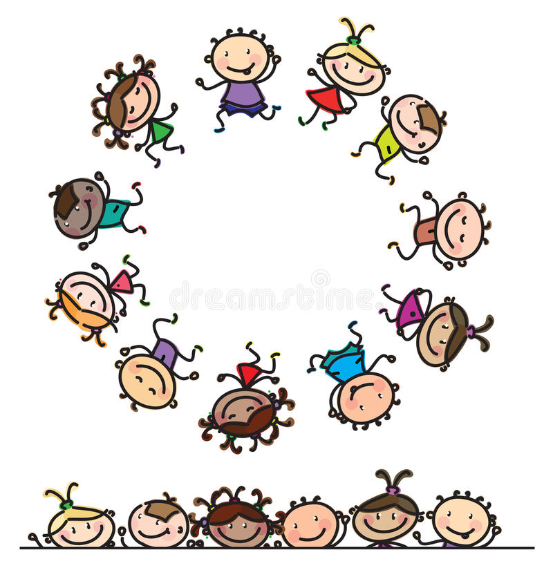 Divertimento di vettore, bambini multi-etnici ballanti illustrazione vettoriale