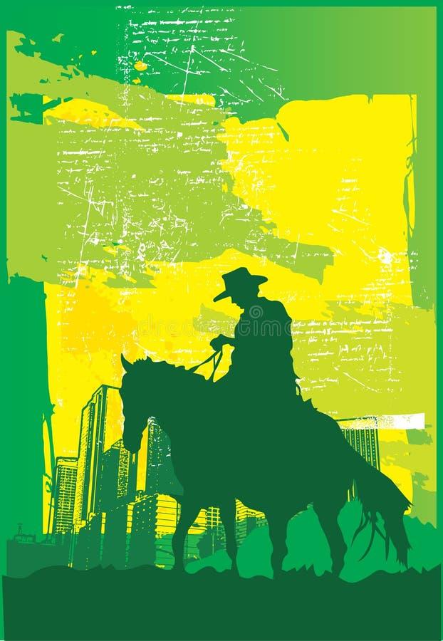 Divertimento do cowboy em The Sun ilustração do vetor
