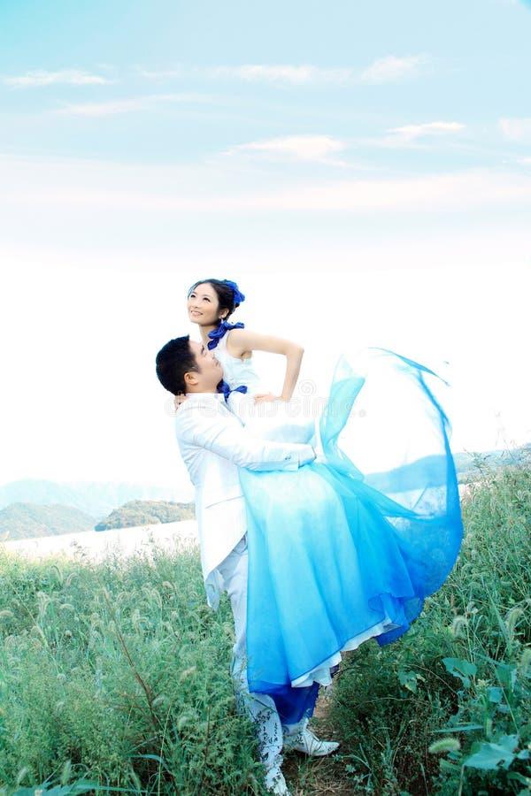 Divertimento dos pares do casamento foto de stock