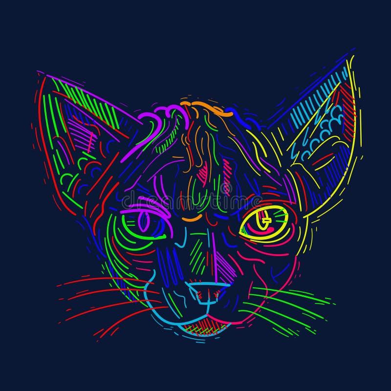 Divertimento, figuras artísticas desenhos do gato dos desenhos animados Estudos originais ilustração stock