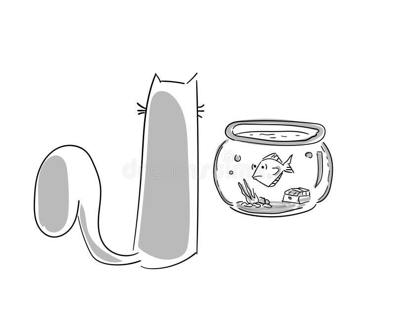 Divertimento, figuras artísticas desenhos do gato dos desenhos animados Estudos originais ilustração do vetor