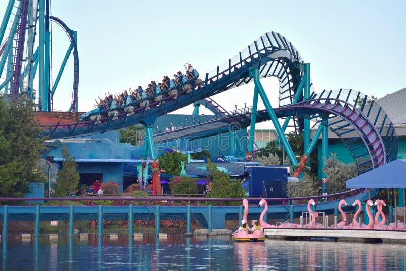 Divertimento Mako Rollercoaster no parque temático de Seaworld fotos de stock