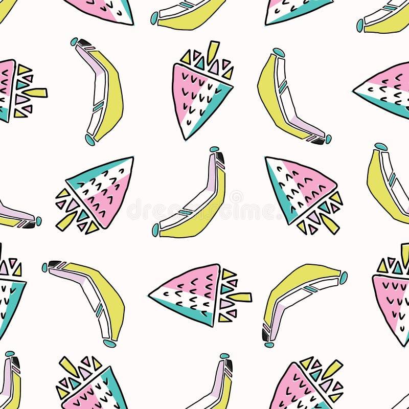 Divertimento Memphis Strawberry Banana Pattern, ilustração sem emenda do fundo do vetor ilustração royalty free