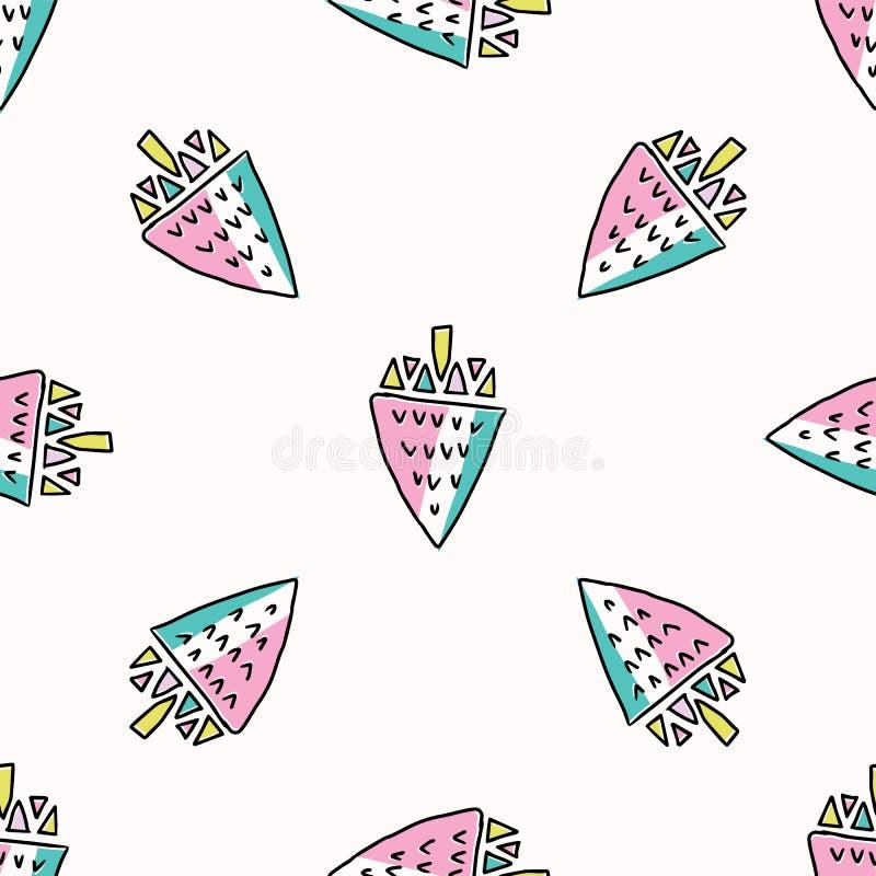 Divertimento Memphis Strawberry Pattern, ilustração sem emenda do fundo do vetor ilustração stock