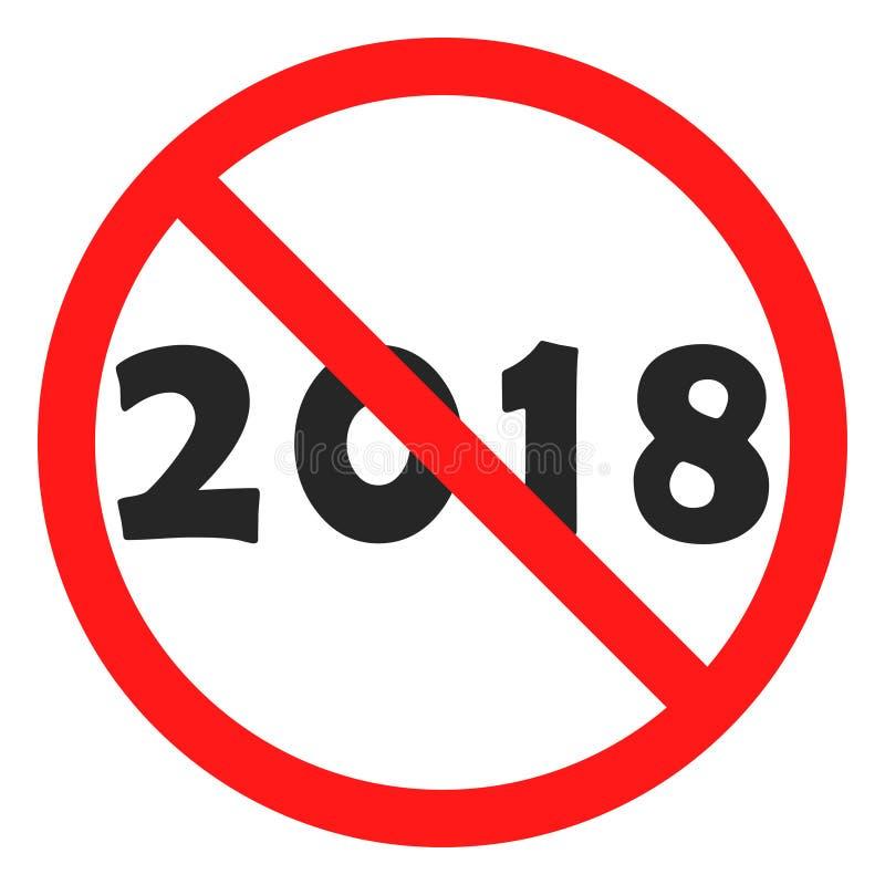 Divertimento nessun oggetto del nero dell'icona di 2018 numeri nel segnale di pericolo rosso illustrazione vettoriale