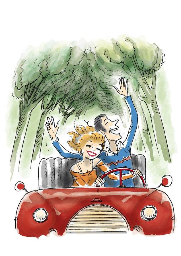 Divertimento no carro ilustração royalty free